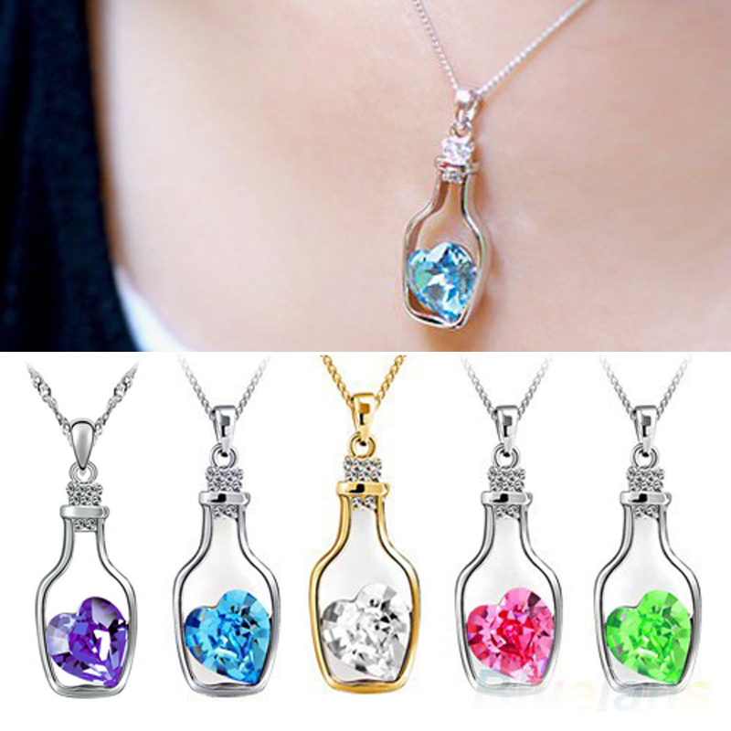 LNRRABC Fashion Romantic Love Heart Bottle Pendant Clavicle Chain Big Crystal Rhinestone Love Charms Necklaces Women Gift