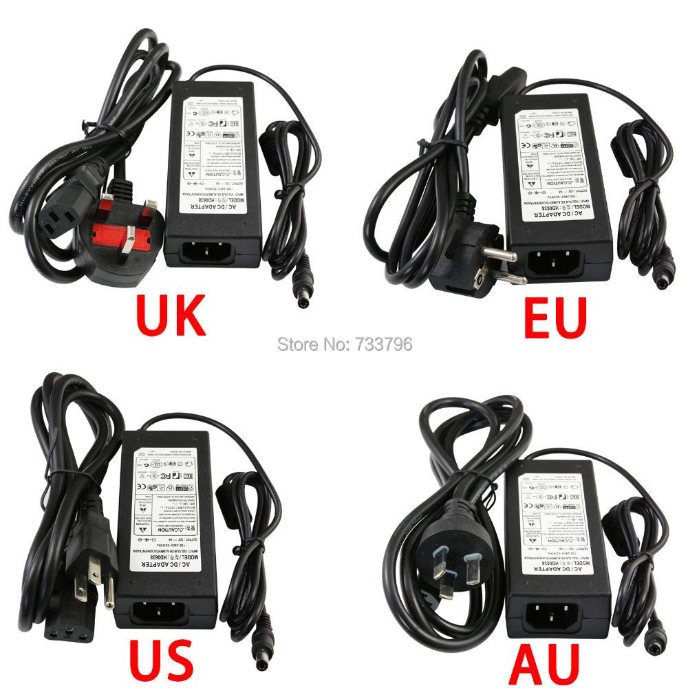 DC LED Power Supply Charger Transformer Adapter 12V 6A 110V 220V to 12V For RGB LED Strip 5050 3528 EU US AU UK Cord Plug Socket(China (Mainland))