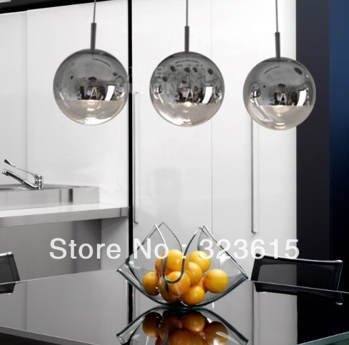 3pcs Modern Round Mirror Ball Glass Pendant Lamp Living Room Dinning Room Light(China (Mainland))