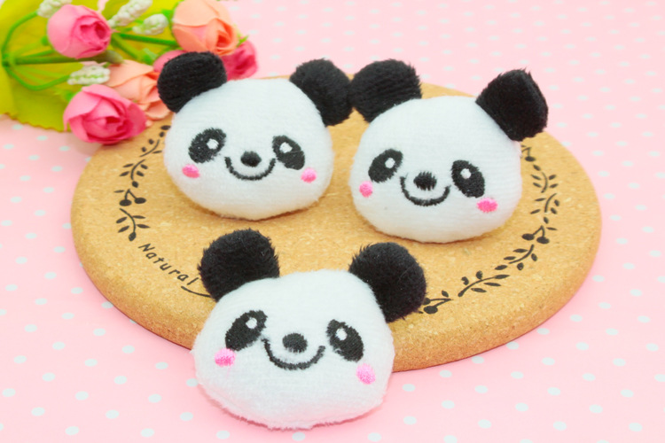 baby panda cartoon applique embroidery patches DIY Baby head hoop materials clothes stick Hair Jewelry accessory(China (Mainland))