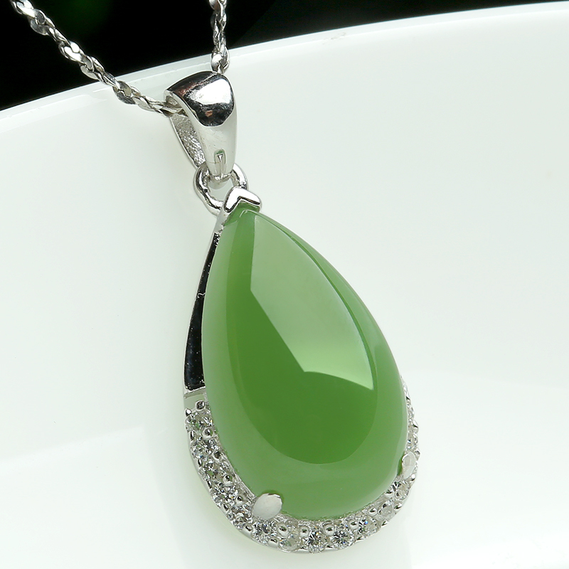 925 silver inlaid natural jade Hetian pendant genuine tenderness Necklace Pendant Gift - Xuemei Hao's store