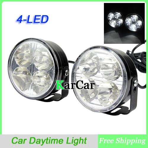 1 pair 4 led round car daytime running light 12v universal drl driving bulb kit fog light lamps. Black Bedroom Furniture Sets. Home Design Ideas