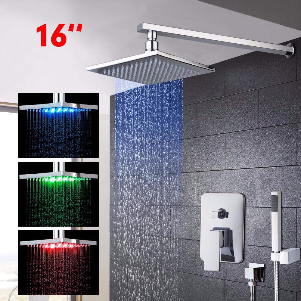 US-W Chrome Bath Rainfall Shower Faucet Set Thermostatic Mixer W/Hand Sprayer Shower Set Faucets(China (Mainland))