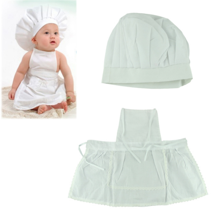 Delicate Hot Newborn Infant Hat Apron Photos Photography Prop Baby White Cook Costume Free Shipping(China (Mainland))