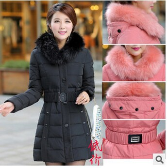 2014 fashion popular best-selling copy raccoon fur collar thicken slim long women winter jacket coat parkas womens