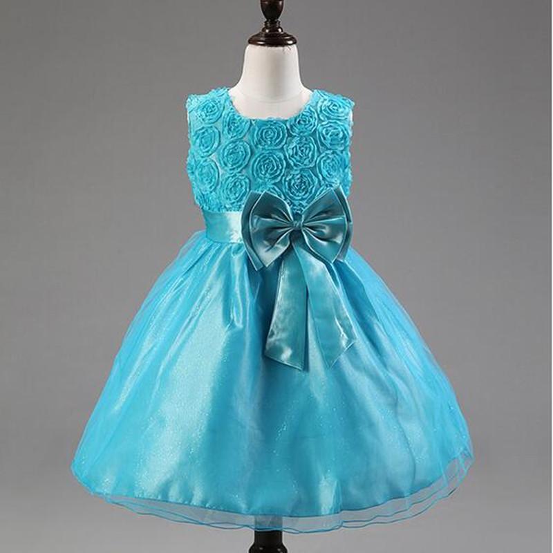 Free Shipping 2016 New Bowknot Rose Girls Dresses Children Wedding Princess Clothing Sleeveless Kids Formal Party Dress<br><br>Aliexpress