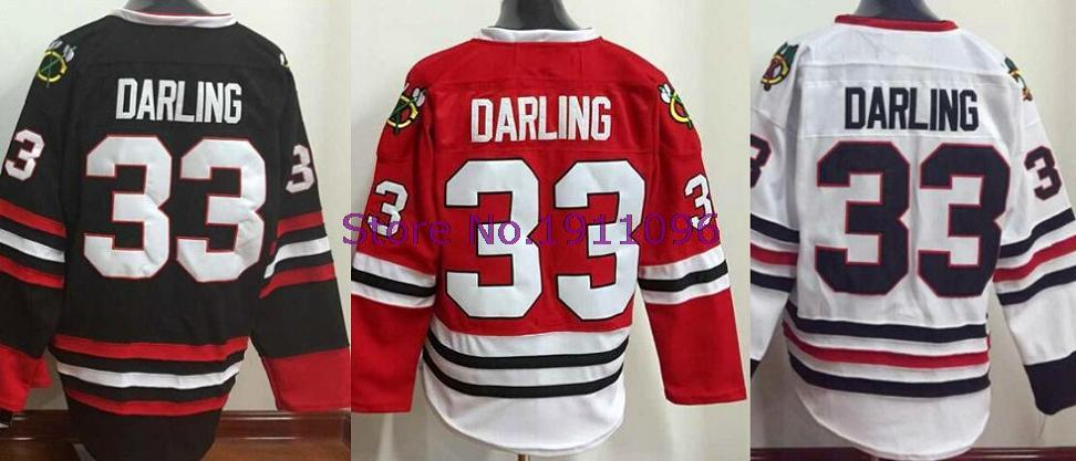 Scott Darling Jersey #33 Mens Chicago Blackhawks Jersey red white black Cheap Ice hockey jerseys swearshirt