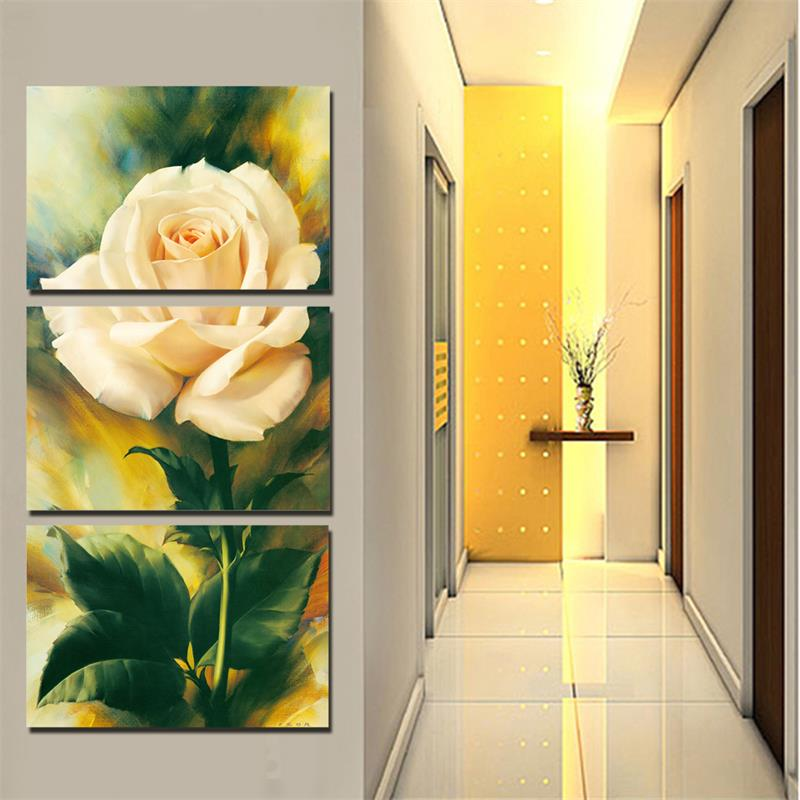 3 Pieces Modern Wall Painting Pink Rose Flower Warm Feel Home Decorative Art Picture Paint Canvas Prints - Decor store