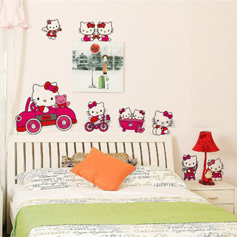Cute Pink cartoon cat Wall Stickers 3D Wall Stickers home ...