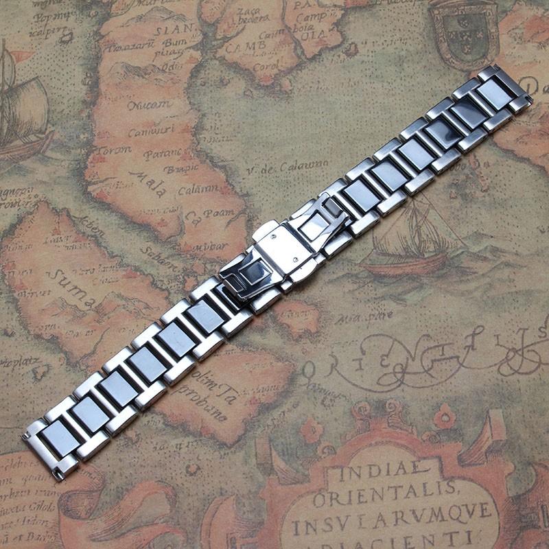 16 мм 18 мм 20 мм керамические и нержавеющей стали ремешок для часов белый и черный часы полоса ремешок бабочка пряжка мужчины металл