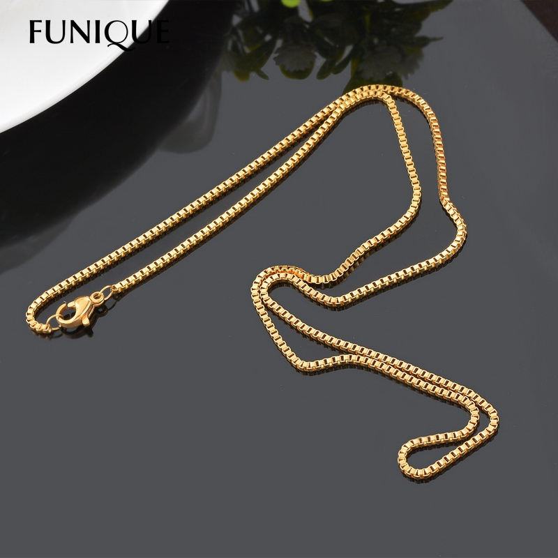 FUNIQUE Stylish Stainless Steel Box Chain Necklace For Men Women DIY Fine Jewelry Findings Hot Fashion Chain 50cmx1.5mm(China (Mainland))