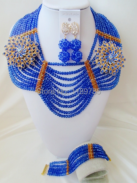 Promotion Free Shipping African Wedding Jewelry Set Costume Nigerian  Crystal Beads Jewelry Set Wholesale NEW A-10527<br><br>Aliexpress