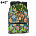 ONE2 Design university students women man teenager boys girls monkey animal green printing polyester school bag