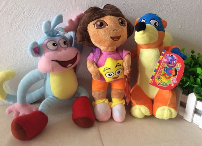 "Free shipping 3pcs/lot 25cm=9.8"" Dora the Explorer Plush toys,Dora And Boots Monkey And Swiper Fox Plush Toys Brinquedos(China (Mainland))"