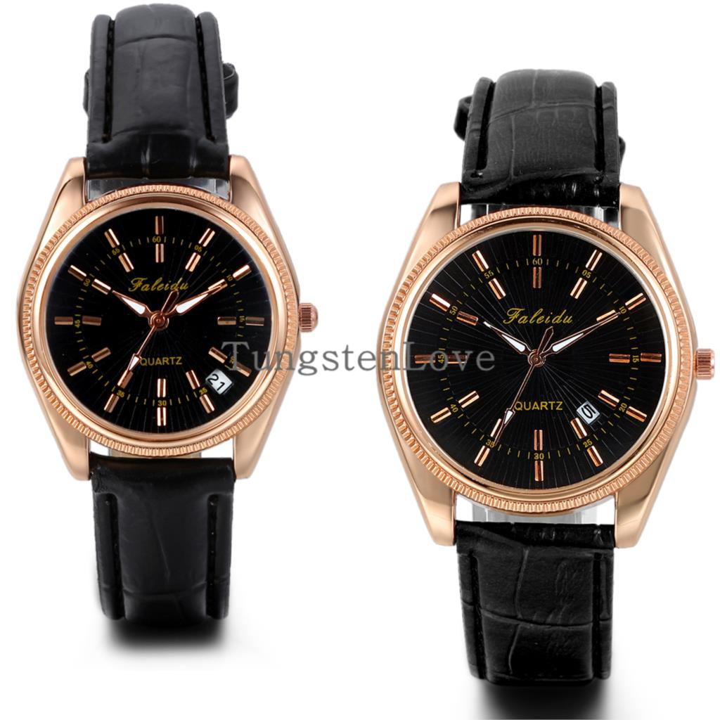 Luxury Auto Date Rose Gold Watches Black Leather Business Top Grade Quartz Watch 2015 Fashion Male Female Couple watch(China (Mainland))