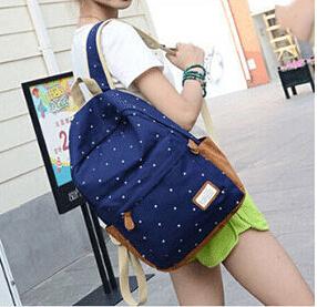 Гаджет  New 2015 casual canvas backpack women fashion school bags for girls dot printing backpack shoulder bags mochila None Камера и Сумки
