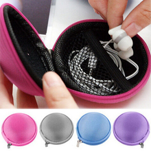 Portable Mini Round Coin Purse Bag for Earphone Headphone SD TF Cards Cable Cord Wire Storage Key Wallet 8x5cm(China (Mainland))