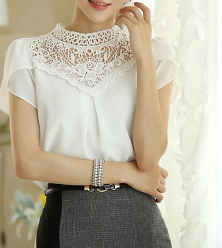 Free Shipping High Quality Summer Hot Sale Korean Short Sleeve Stand Collar Hollow-out Lace Chiffon Blouse White S-XXL