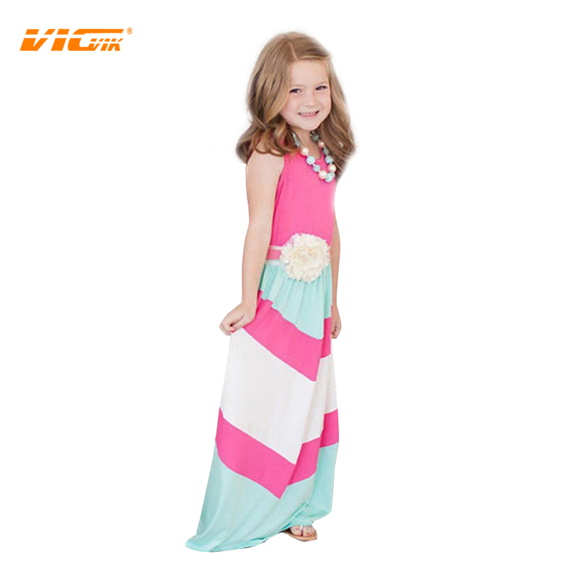VICVIK Brand Children Girls Dress European Style Stripe Summer Princess Costume Kids Party Wear Fashion Clothing(China (Mainland))