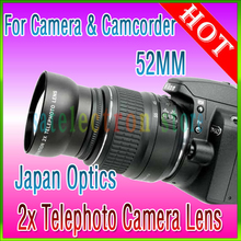 NEW 52MM 2X Tele Telephoto Lens for DSRL Camera Nikon D5000 D5100 D3100 D3200 D80 D90 D7000 D40 D60 DSLR Camera, Free Shipping!!(China (Mainland))