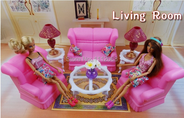 Free shipping New Fashion furniture fittings As shown in figure sitting room with sofa gift Set for barbie doll accessories(China (Mainland))