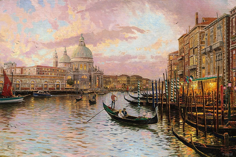 Thomas Kinkade Venice giclee prints abstract music wall art kitchen decor wall pictures for living room beautiful scene(China (Mainland))