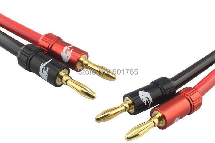 Hi-fi Heavy Duty High Power Speaker Cable with Dual Banana Plug Gold Plated OFC Braided Home Theater Cable 8FT 11FT(China (Mainland))
