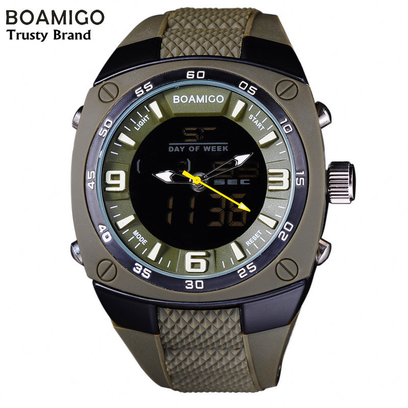 watches men luxury brand BOAMIGO military army outdoor sports watches Dual Time Quartz Digital Watch rubber band wristwatches(China (Mainland))