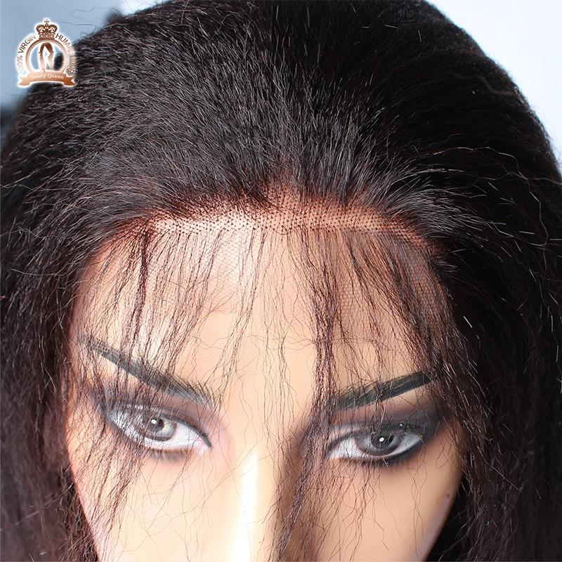 איטלקי יקי פאה תחרה מלא בתולה ברזילאי שיער אדם יקי ישר פאה הקדמי של תחרה Glueless פאה תחרה מלא עבור נשים שחורות.