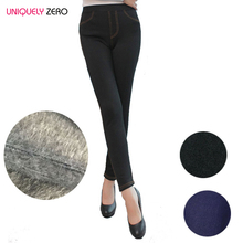 Women Fleece Lined Plus Size Slim Elastic Black Blue Fashion Imitation Jeans Thick Velvet Winter Leggings With 2 Real Pockets(China (Mainland))