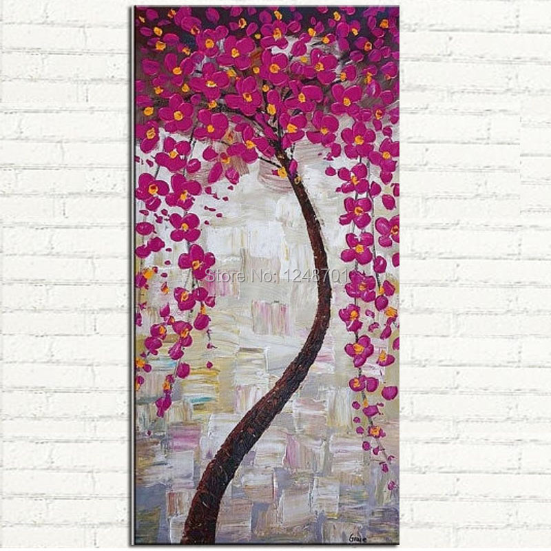 Buy Handpainted abstract pink tree boolm flower oil painting palette knife thick textured art on canvas for home decoration big size cheap