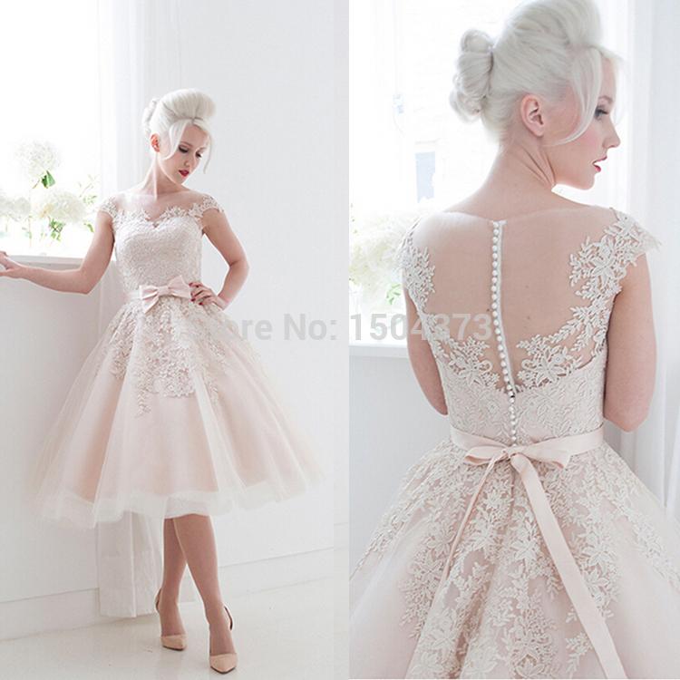 Vintage 2015 short wedding dresses blush pink tea length for Blush vintage wedding dress