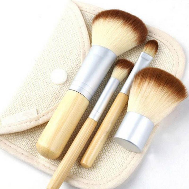 Fashion 4pcs/set BAMBOO Portable Makeup Brushes Make Up Make-up Brush Cosmetics Set Kit Tools free shipping(China (Mainland))