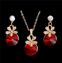Free Shipping Hot 18K Gold Filled Red Alluring Austrian Crystal Womens Jewlery Necklace Earrings Wedding Jewelry Sets(China (Mainland))
