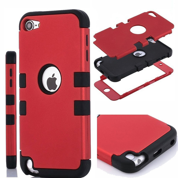 3-in-1 Impact Hard & Soft Silicone Hybrid Case For Apple iPod Touch 5 Case Cover(China (Mainland))