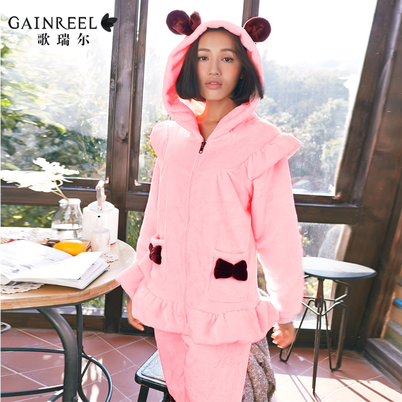 Song Riel brand sweet autumn and winter flannel pajamas casual tracksuit suit Ms lip heart pure