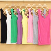 summer women sleeveless T-shirt back cross strip cotton v neck slim vest tank tops rose/light grey/yellow/green(China (Mainland))