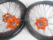 "ORANGE NIPPLE KTM SUPERMOTO MOTARD WHEEL RIM SET KTM EXC SX SXF 125 150 250 450 530 17""(China (Mainland))"
