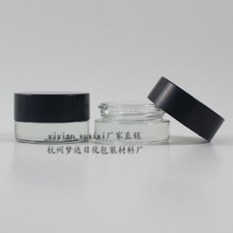 5g clear glass cream jar with black plastic lid, 5 gram cosmetic jar,packing for sample/eye cream,5g mini glass bottle(China (Mainland))