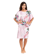 Hot Sale Pink Chinese Women Silk Robe Gown Sexy Nightgown Lose Casual Home Dress Kimono Flower Kimono Gown Oversize NR113(China (Mainland))