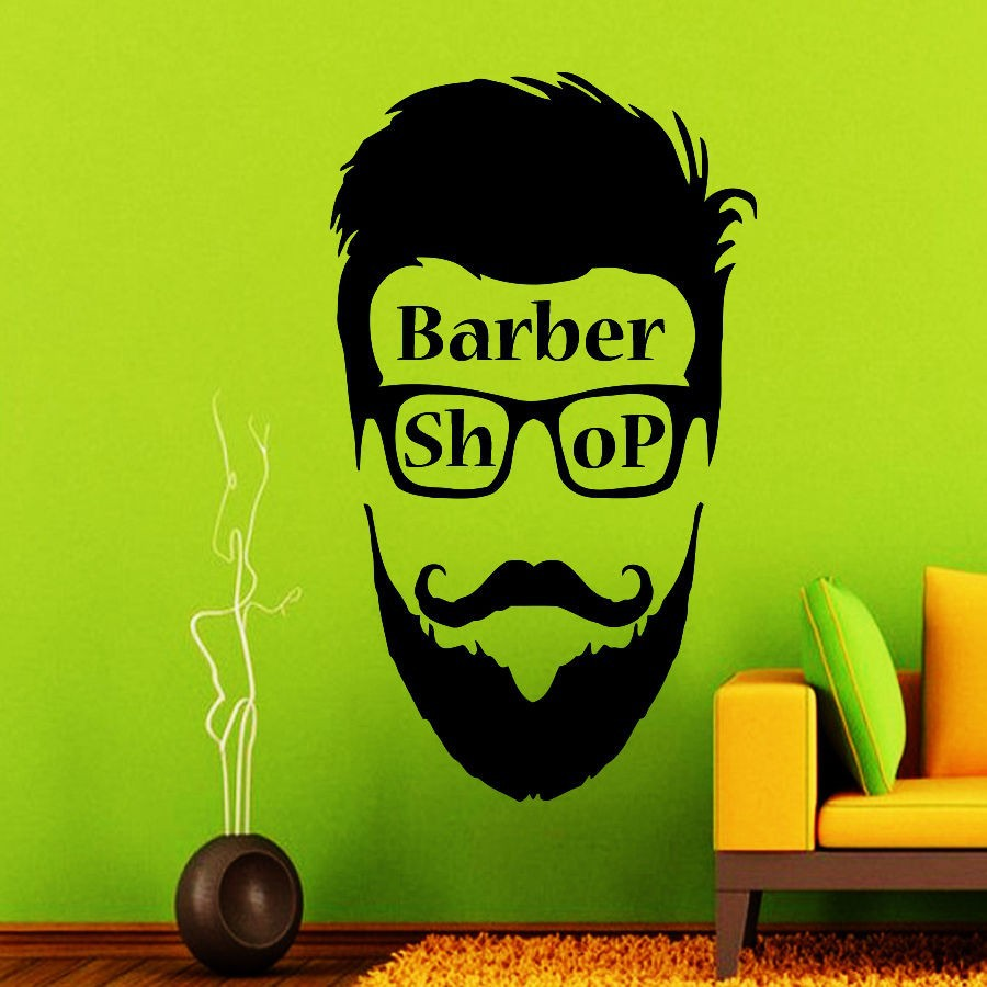 New Arrival Barber Shop Sign Man Face Mural Barber Shop Hipster Vinyl Wall Decal Creative Art Wall Sticker Hair Shop Decoration(China (Mainland))