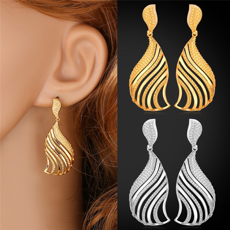 Gold Feather Earrings Women Jewelry 2015 New Platinum /18K Real Gold Plated Hollow Out Trendy Dropping Earrings For Women E229(China (Mainland))