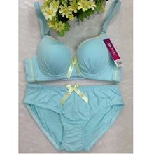 Golden Summer Smooth Bowknot Students Water Soluble Lace Underwear Three Hook and eye Girls Bra Set