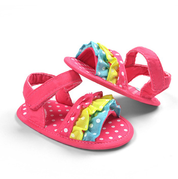 Baby Girls Flower Sandals Infant Girl Cute Summer Shoes Toddler New Fashion Pink First Walkers Soft Sole Footwear Free Shipping