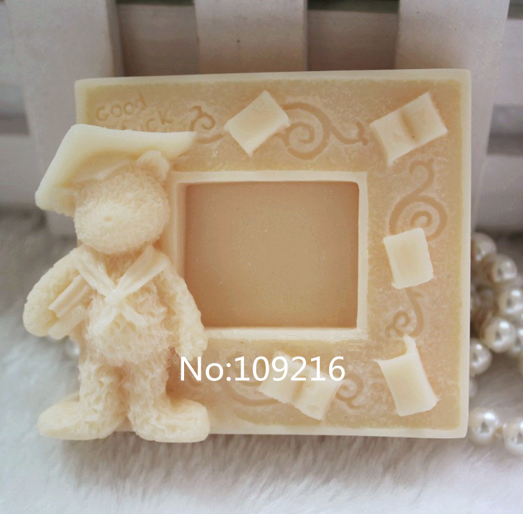 wholesale1pcs picture frame with bear zx694 handmade soap mold crafts