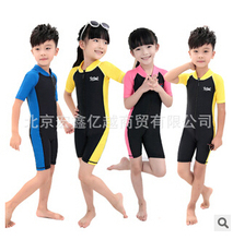 Hot Sale 2015 Children Short Sleeve Conjoined Uv Surf Bathing Suit Sea Diving Floating Clothing Swimsuit For Boy And Girls(China (Mainland))