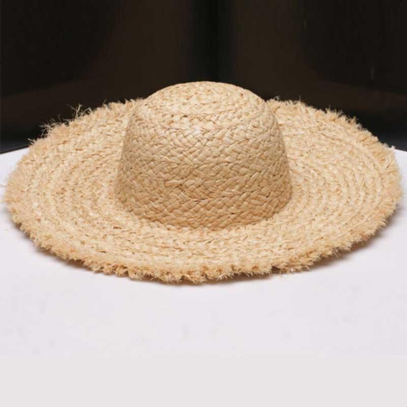 Wholesale 6pcs Women Nature Wide Brim Raffia Straw Hats Blank Large Beach Summer Sun Hat for Ladies Womens Big Brim Straw Caps(China (Mainland))