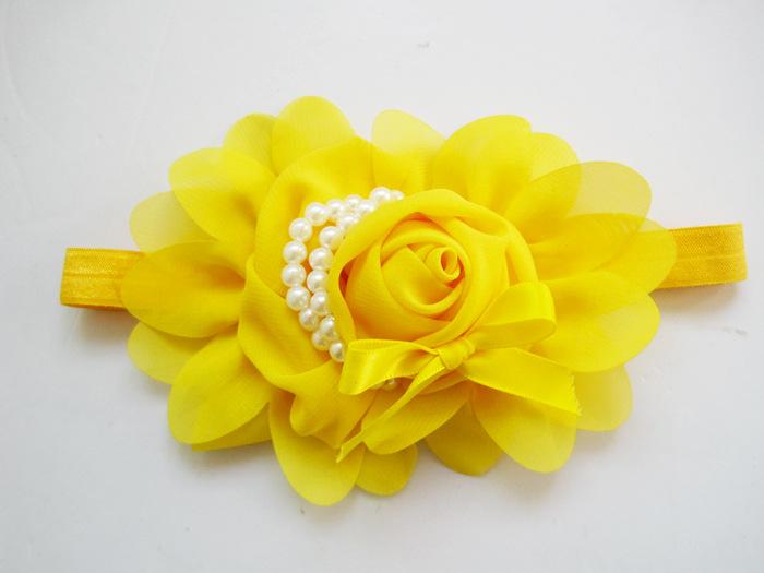 Baby Girl Children's Headwear Chiffon Big Rose Flower With Pearls Hairband Headband Flower Headdress Hair Accessories Modern(China (Mainland))