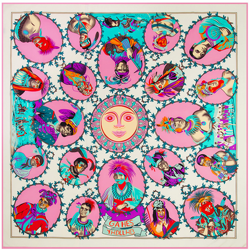 Size:130*130cm Hot! Twill Silk ladies' scarves 2015 Figures and heads digital print female silk scarf brand lady scarf wholesale(China (Mainland))