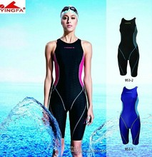 Yingfa VaporWick one piece competition knee length waterproof chlorine low resistance women's swimwear sharkskin swimsuit
